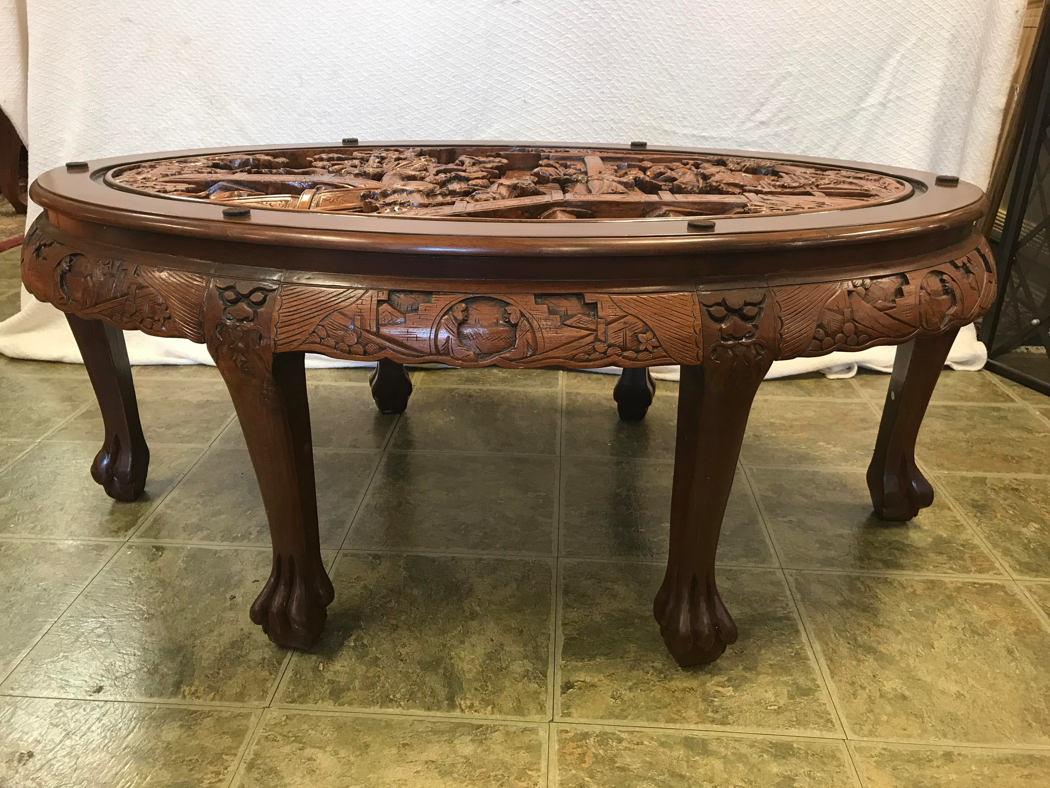 Asian Hand Carved Solid Mahogany Tea Table With 6 Stools   Image 3 Of 11