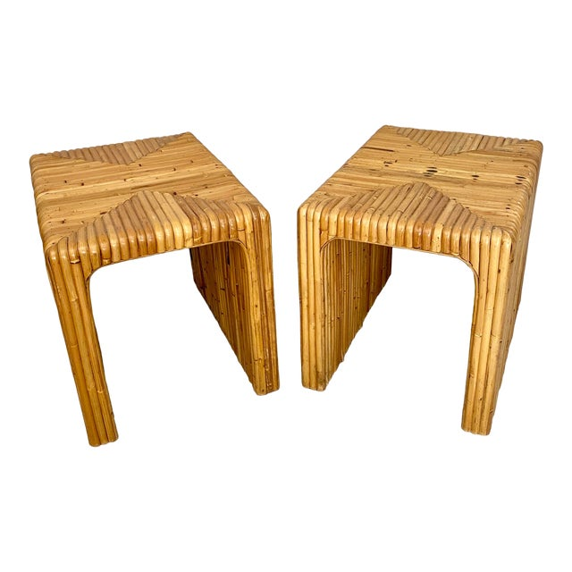 Vintage Split Reed Rattan Waterfall End Tables- a Pair For Sale