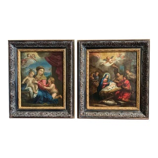 18th Century Italian Religious Oil Paintings on Copper in Carved Frames - a Pair For Sale