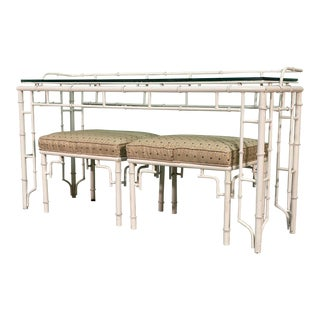 Faux Bamboo Metal Fretwork Console Table and Matching Stools For Sale