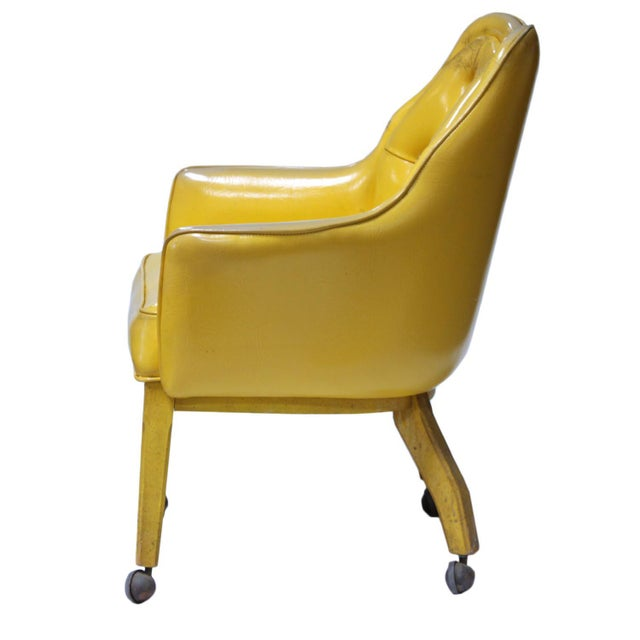 Lemon Yellow Vinyl Accent Chair - Image 3 of 10