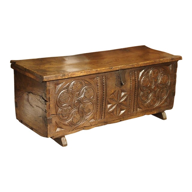Large Carved Oak Plank Trunk From the Basque Country, Circa 1650 For Sale
