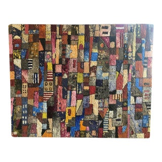"""1950s Vintage Modern Abstracted Cityscape Painting Titled """"No Vacancy"""" For Sale"""