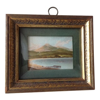 Vintage C.1950s, Hand-Painted Landscaped Print Under a Rare Convex Curved Glass Framed For Sale