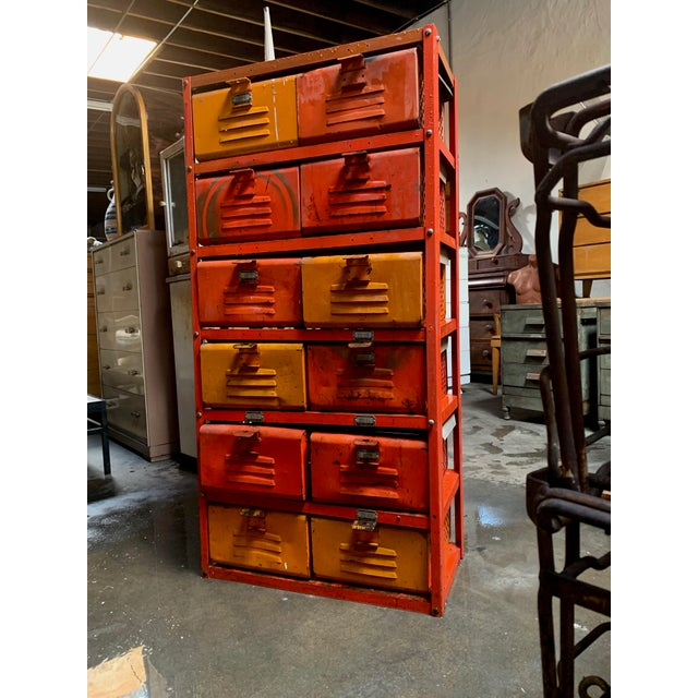 Metal Vintage Industrial Orange 10-Basket Metal Locker Storage For Sale - Image 7 of 13