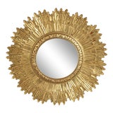 Image of Mid-Century Giltwood Sunburst Frame Convex Wall Mirror For Sale