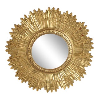 Mid-Century Giltwood Sunburst Frame Convex Wall Mirror For Sale