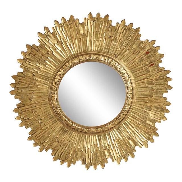 Mid-Century Giltwood Sunburst Frame Convex Wall Mirror For Sale