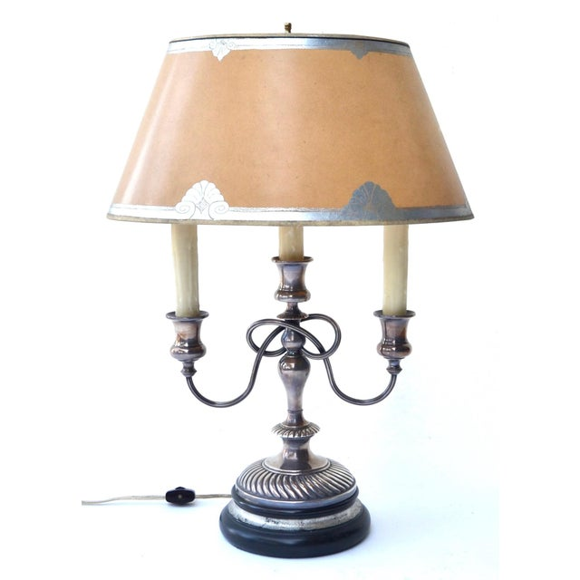 A very fine 19th century French silver plated bouillotte lamp with three arms and adjustable oval paper shade with painted...