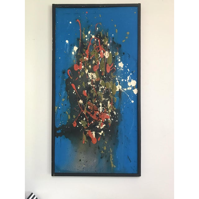 Blue Mid Century Modern Abstract Expressionist Original Painting Style of Jackson Pollock For Sale - Image 8 of 8