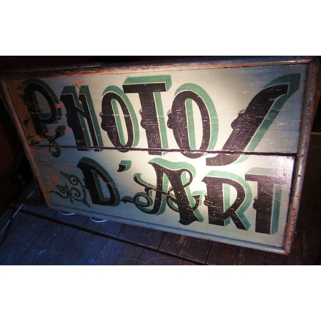 "1920s 1920s Classic French Art Deco Sage Green Painted 2-Sided ""Photos D'Art"" Shop Sign For Sale - Image 5 of 13"