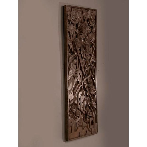 1900s Chinese Handsome Carved Birds And Foliage Motif Timber Panel For Sale - Image 4 of 6