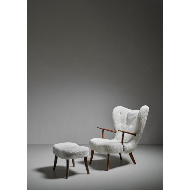 Madsen and Schübel 'Pragh' Lounge Chair With Ottoman, Denmark, 1950s For Sale - Image 6 of 6