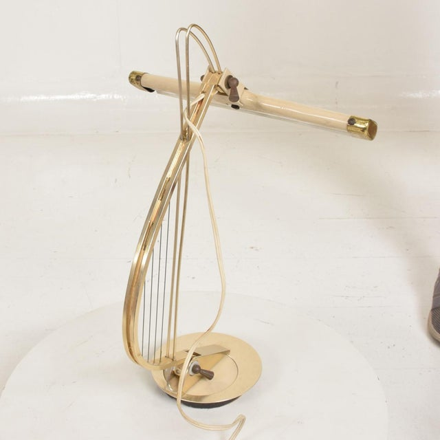 Mid-Century Modern Sculptural Harp Shape Table / Desk Lamp For Sale - Image 9 of 10