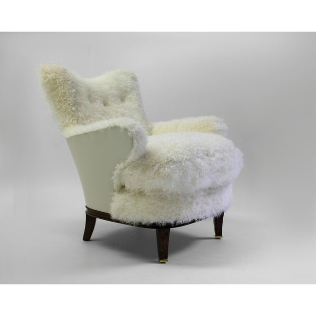American Classical Shearling Covered Shaped Back Chair With Wood Base and Legs With Metal Cap Feet For Sale - Image 3 of 11