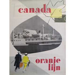 1960s Original Dutch Travel Poster - Travel to Canada on the Orange Lijn (Line) For Sale