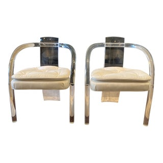 1970s Vintage Charles Hollis Jones Style Lucite Chairs-A Pair For Sale