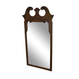 Thomasville Vintage 1960's Broken Arch Top Walnut Wall Mirror For Sale