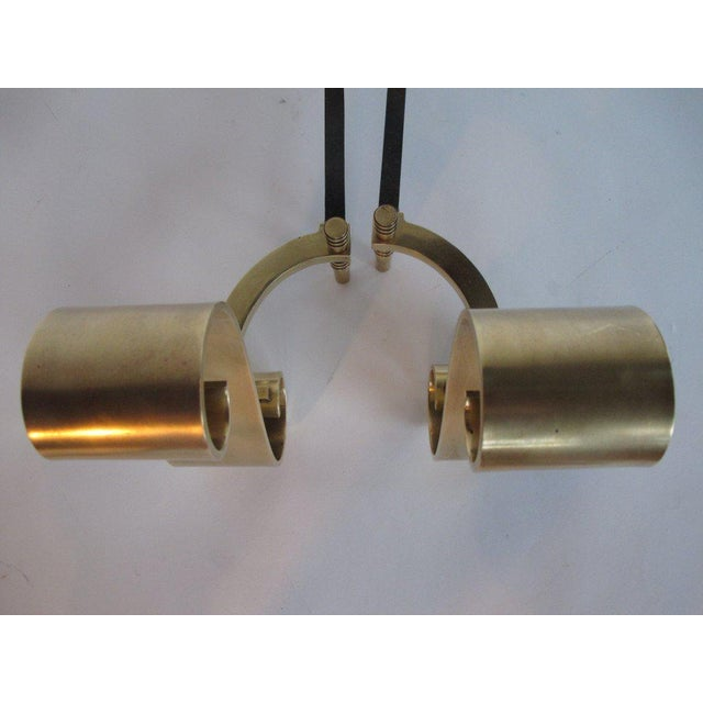 1950s Modern Decorative Brass Scroll Andirons - a Pair For Sale In Tampa - Image 6 of 8