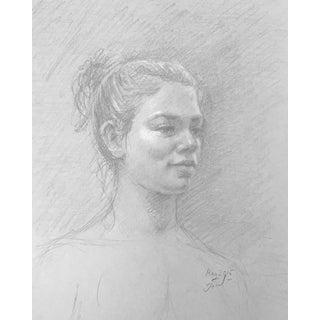 Woman Portrait Graphite Drawing For Sale