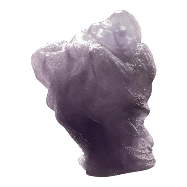 """Liuli Crystal Art Crystal """"Great Joy-All Encompassing"""" Matreiya, Happy Buddha Figurine in Powder Purple For Sale"""