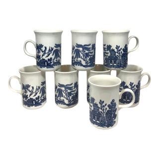 Vintage Blue Willow Coffee Cups - Set of 8 For Sale