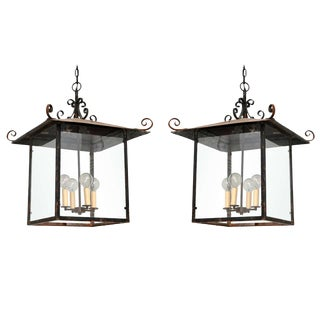 Continental Style Black Iron Lantern For Sale