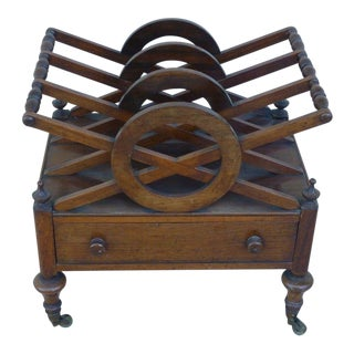 Early 19th Century Antique English Regency Canterbury/Magazine Stand For Sale