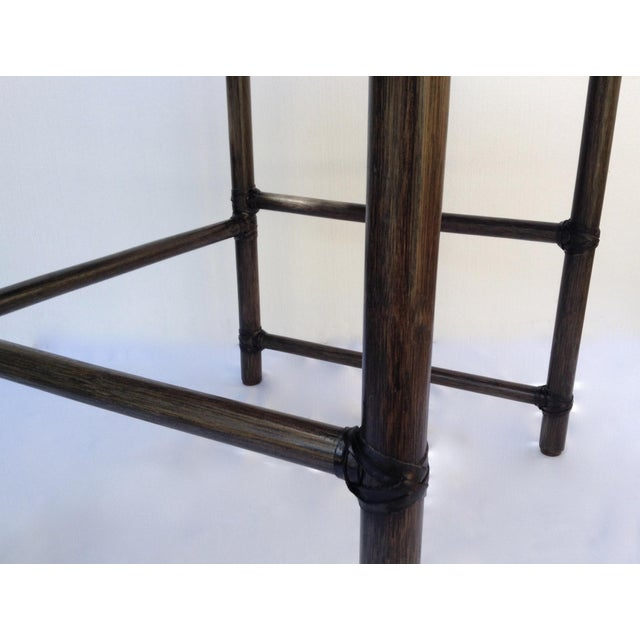 McGuire Leather Strapped Rattan & Cane Side Table For Sale - Image 9 of 11