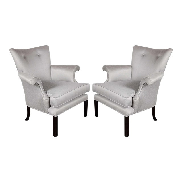 Glamourous Pair of Hollywood Scrolled Arm Chairs with Button Back Detailing For Sale