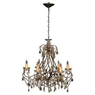 Opulent Vintage Italian Gilt Crystal & Beaded 6 Light Chandelier For Sale