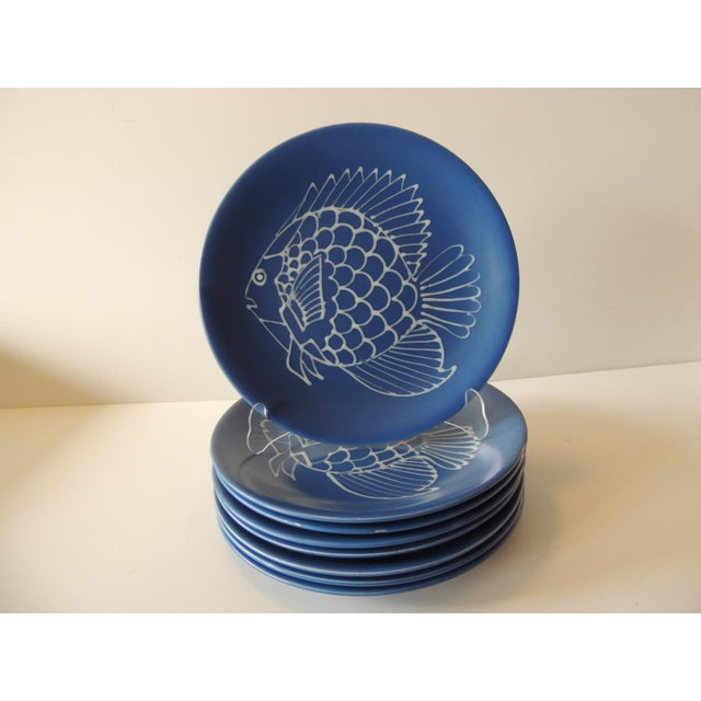 Set of (8) Blue and White Fish Plates by Longchamp For Sale - Image 9 of 9