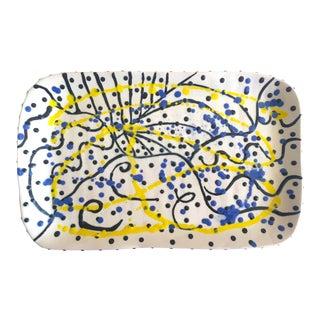Vintage 1990's Post Modern Abstract Expressionist E. Dalen Studio Pottery Rectangular Splatter Ceramic Serving Platter For Sale