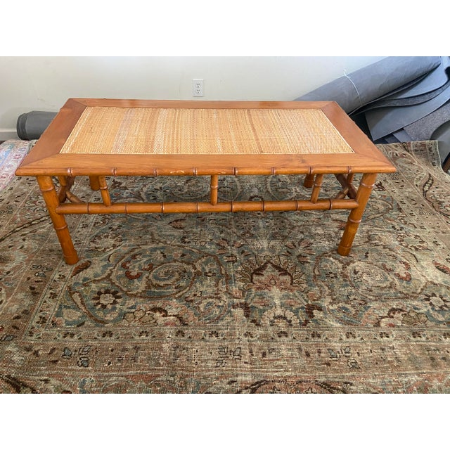 Coffee 1970s Faux Bamboo and Ratan Coffee Table For Sale - Image 8 of 8