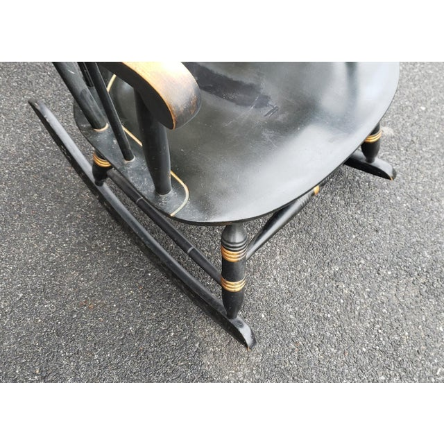 1970s Vintage 1970s Black Hitchcock Style Painted Nichols & Stone Co. Rocking Chair Rocker For Sale - Image 5 of 11