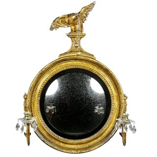 Regency Giltwood Girondole/Convex Mirror For Sale