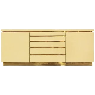1970s, French, Ivory Lacquer Sideboard With Brass Details by Jean Claude Mahey For Sale