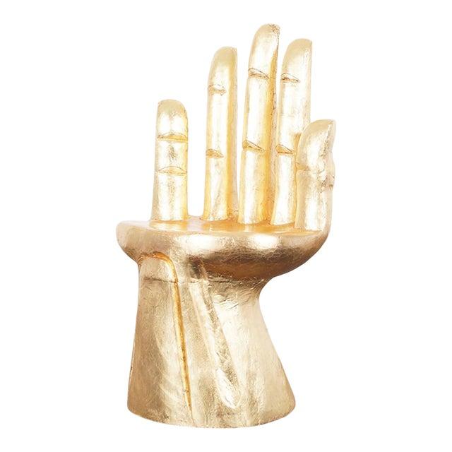 1960s Vintage Sculptural Gold Leaf Hand Chair After Pedro Friedeberg For Sale