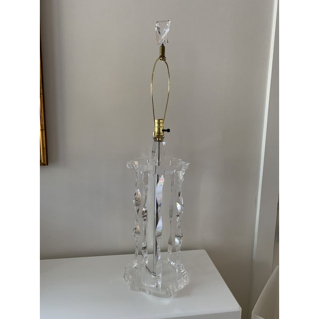 "Large vintage ""iceberg"" lucite table lamp in the style of Lion in Frost. Excellent condition, lucite is flawless. 35"" to..."