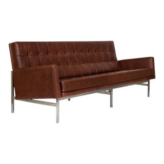 1955 Florence Knoll Model 2577 Brown Leather Sofa For Sale