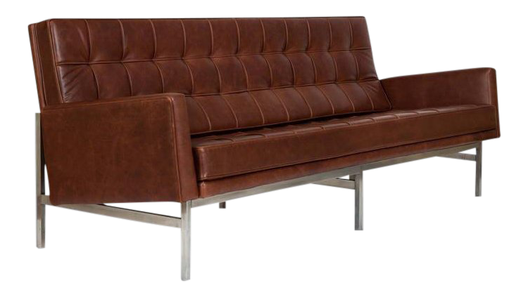 1955 Florence Knoll Model 2577 Brown Leather Sofa