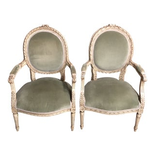 Vintage 1960s Mint Green Velvet French Chairs - A Pair