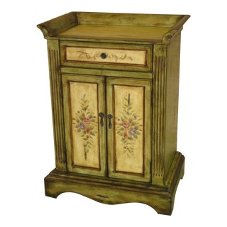 1990s Italian Florentine Style Green Floral Two Door Cabinet For Sale