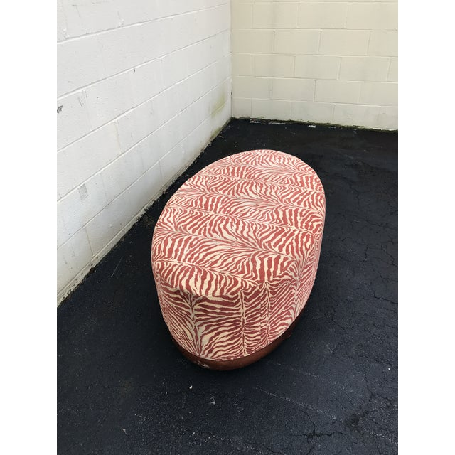 Gold Mid Century Modern Red Zebra Print Ottoman For Sale - Image 7 of 8