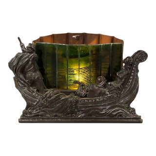 Bronze Gondola and Slag Glass Side Table Lamp For Sale