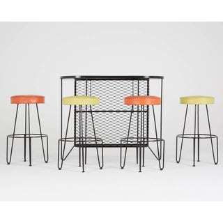Frederick Weinberg, Restored Three-Piece Wrought Iron Bar and Stools, 1950s Preview