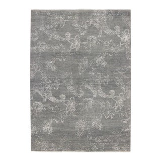 "Transitional Gray Rug With Contemporary Abstract Style - 10'01"" X 14'02"" For Sale"