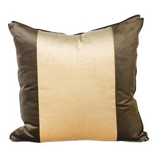 Pair of Two Stripe Pillows Upholstered in Kravet Velvet