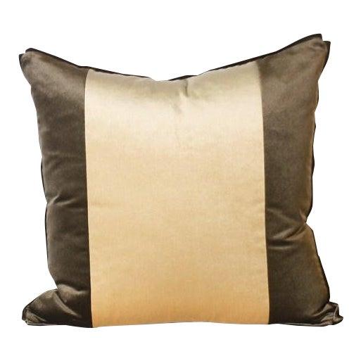 Pair of Two Stripe pillows upholstered in Kravet velvet. Made in Dallas for Jan Showers and Associates.