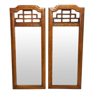 Vintage Ming Style Fretwork Cherry Wood Mirrors - a Pair For Sale